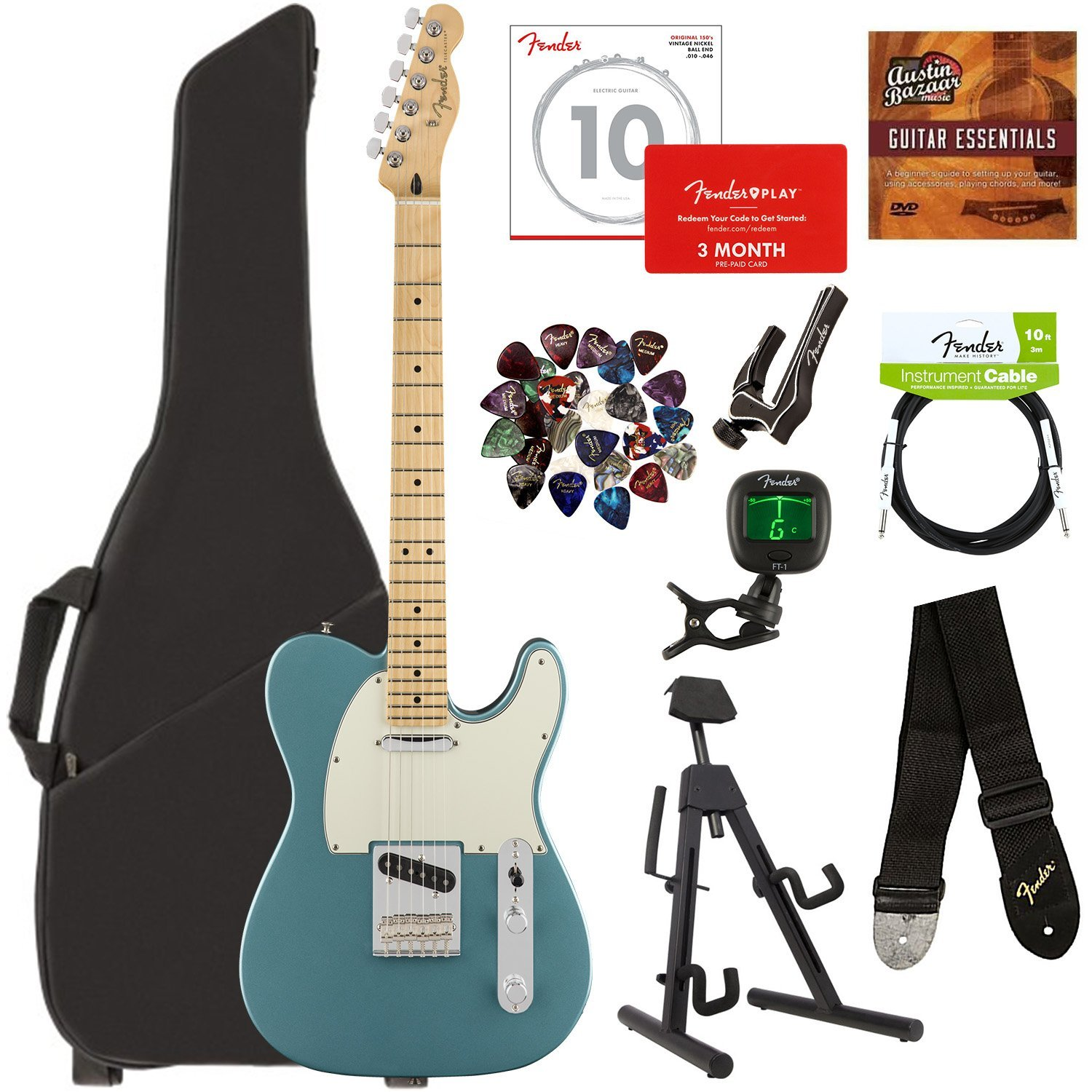 Fender Player Telecaster Maple  Tidepool Bundle with Gig Bag Stand Cable Tuner Strap Strings Picks Capo Fender Play Online Lessons and Austin Bazaar Instructional DVD