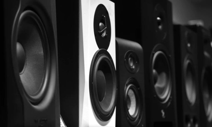 black and white speakers